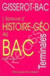 Histoire Geographie Au Bac - Couverture - Format classique