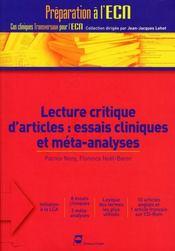 Lecture critique d'articles médicaux - Intérieur - Format classique