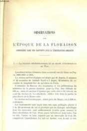 Observations Sur L'Epoque De La Floraison Consideree Dans Ses Rapports Avec La Temperature Ambiante - Couverture - Format classique
