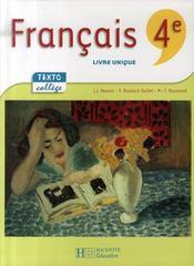 Francais 4eme Livre De L Eleve Edition 2007 Jean Jacques Besson