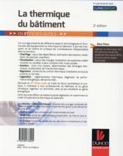 La thermique du bâtiment ; en 37 fiches-outils (2e édition) - 4ème de couverture - Format classique