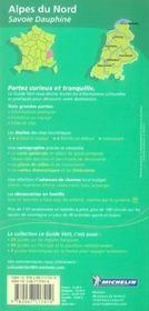 Le Guide Vert ; Alpes Du Nord, Savoie, Dauphine - 4ème de couverture - Format classique