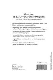 Histoire de la littérature française - 4ème de couverture - Format classique