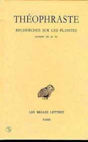 Recherches sur les plantes t.2 ; livre 3-4 - Couverture - Format classique