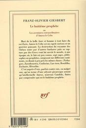 Le huitième prophète ou les aventures extraordinaires d'Amros le celte - 4ème de couverture - Format classique