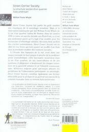 Street corner society ; la structure sociale d'un quartier italo-américain - 4ème de couverture - Format classique