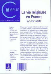 La vie religieuse en france - xvie-xviiie siecle - 4ème de couverture - Format classique