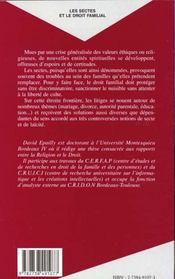 Les Sectes Et Le Droit Familial - 4ème de couverture - Format classique