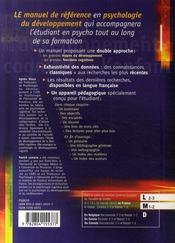 Psychologie du développement cognitif de l'enfant - 4ème de couverture - Format classique