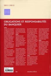 Obligations et responsabilités du banquier (édition 2011/2012) - 4ème de couverture - Format classique