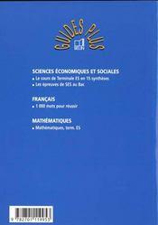 Sciences economiques et sociales terminlales es corriges d'epreuves du bac - 4ème de couverture - Format classique