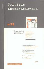 Revue Critique Internationale N.23 ; Vers Un Monde Postnational ? - Intérieur - Format classique
