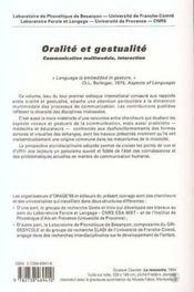 Oralité et gestualité ; communication multimodale, interaction - 4ème de couverture - Format classique