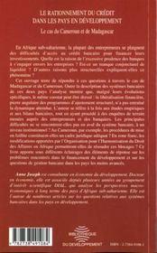 Le Rationnement Du Credit Dans Les Pays En Developpement ; Le Cas Du Cameroun Et De Madagascar - 4ème de couverture - Format classique
