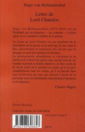 Lettre de Lord Chandos - 4ème de couverture - Format classique