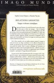 Relations savantes - 4ème de couverture - Format classique