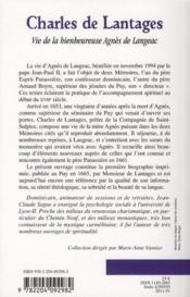 Vie de la bienheureuse Agnès de Langeac ; la première biographie - 4ème de couverture - Format classique