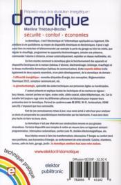 Domotique ; sécurité, confort, économies - 4ème de couverture - Format classique