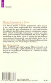 Histoire economique de la france du xviiie siecle - 4ème de couverture - Format classique