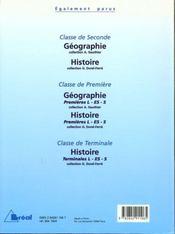 Géographie ; l'espace mondial ; classes de terminales L, S, ES - 4ème de couverture - Format classique