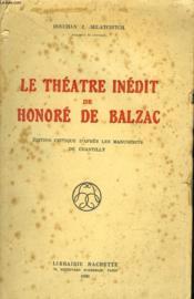 Le Theatre Inedit De Honore De Balzac - Couverture - Format classique