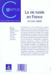 La vie rurale en france (xvie-xviiie) - 4ème de couverture - Format classique