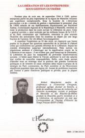 La Libération et les entreprises sous gestion ouvrière ; Marseille 1944-1948 - 4ème de couverture - Format classique