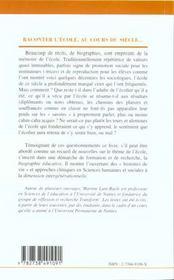 Raconter L'Ecole Au Cours Du Siecle - 4ème de couverture - Format classique