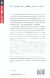La terminologie ; principes et techniques - 4ème de couverture - Format classique
