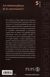 Raison Publique N.5 ; Les Métamorphoses De La Souveraineté - 4ème de couverture - Format classique