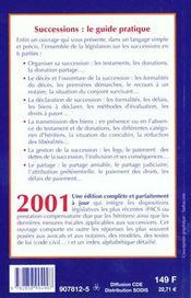 Le guide pratique des successions 2001 - 4ème de couverture - Format classique