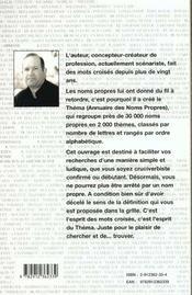 Le Thema ; Annuaire Des Noms Propres Pour Cruciverbistes - 4ème de couverture - Format classique