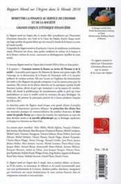 Rapport moral sur l'argent dans le monde 2010 ; remettre la finance au service de l'homme et de la société - 4ème de couverture - Format classique