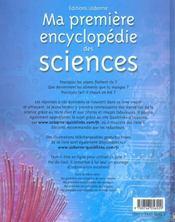 Ma premiere encyclopedie des sciences - 4ème de couverture - Format classique