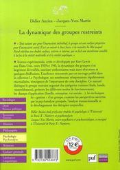 La dynamique des groupes restreints - 4ème de couverture - Format classique