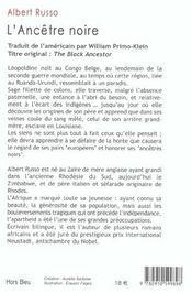 L'ancetre noire - 4ème de couverture - Format classique