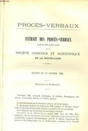 Extrait Des Proces-Verbaux Des Seances De La Societe Agricole Et Scientifique De La Haute-Loire - Couverture - Format classique