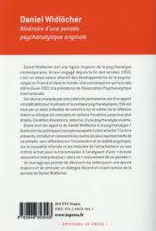 Daniel Widlöcher, itinéraire d'une pensée psychanalytique originale - 4ème de couverture - Format classique