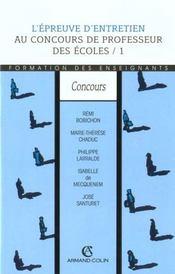 L'Epreuve D Entretien Au Concours De Professeur Des Ecoles - Intérieur - Format classique