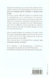 L'Epreuve D Entretien Au Concours De Professeur Des Ecoles - 4ème de couverture - Format classique