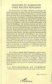 Histoire et narration chez Walter Benjamin - 4ème de couverture - Format classique