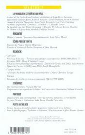 Revue Registres N.7 ; La Parabole Ou Le Théâtre Qui Pense - 4ème de couverture - Format classique