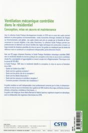 Ventilation mécanique contrôlée dans le résidentiel ; conception, mise en oeuvre et maintance - 4ème de couverture - Format classique