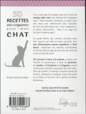 50 recettes anti croquettes pour mon chat - 4ème de couverture - Format classique
