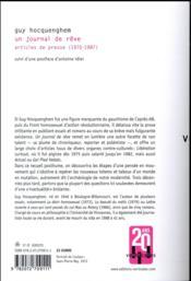 Un journal de rêve ; articles de presse (1970-1987) - 4ème de couverture - Format classique