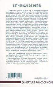Esthetique De Hegel - 4ème de couverture - Format classique