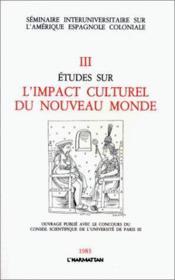 Études sur l'impact culturel du Nouveau Monde - Couverture - Format classique