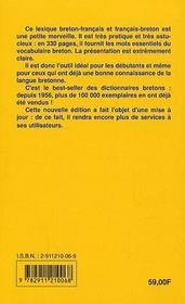 Dictionnaire Breton/Francais - Francais/Breton - 4ème de couverture - Format classique