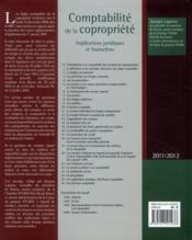 La comptabilité de la copropriété ; implications juridiques et financières (édition 2011/2012) - 4ème de couverture - Format classique