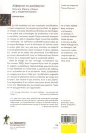 Aliénation et accélération ; vers une théorie critique de la modernité tardive - 4ème de couverture - Format classique